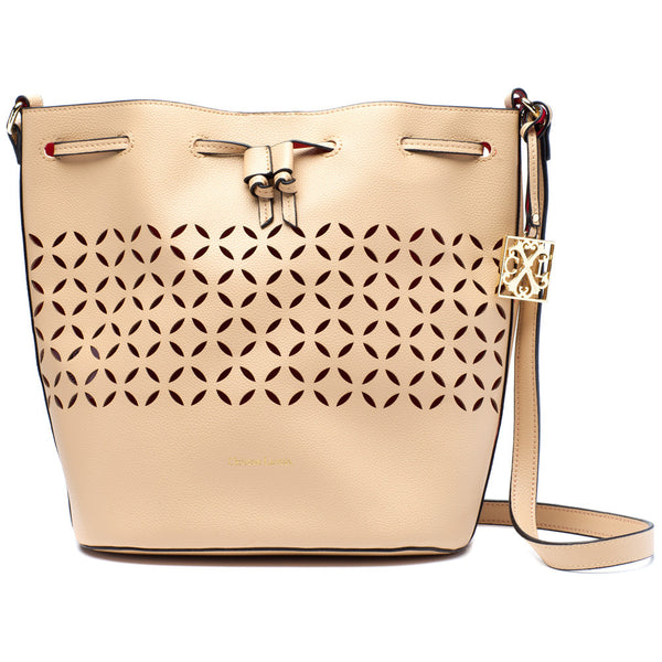CXL by Christian Lacroix Nude Perforated Drawstring Bucket Bag - Citi Trends Designer - Front