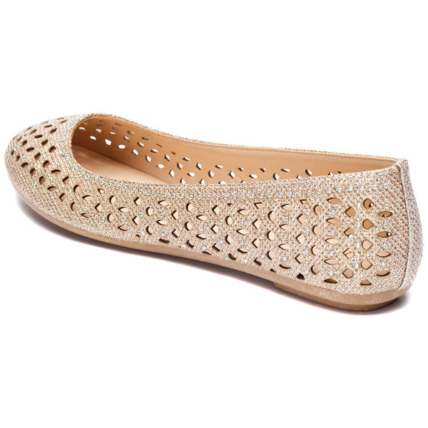 Rose Gold Glitter Perforated Ballet Flat - Citi Trends Shoes - Back