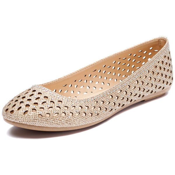 Rose Gold Glitter Perforated Ballet Flat - Citi Trends Shoes - Front