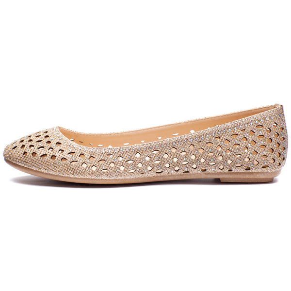 Rose Gold Glitter Perforated Ballet Flat - Citi Trends Shoes - Side