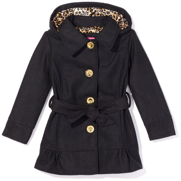 Ruffle Rule Girls Black Hooded Wool Coat - Citi Trends Girls - Front