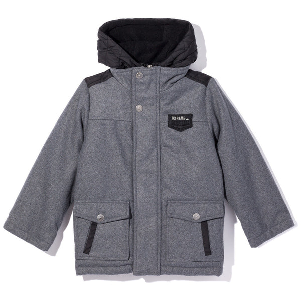 Feeling Grey-T Zip-Up Wool Coat With Hood - Citi Trends Boys - Front