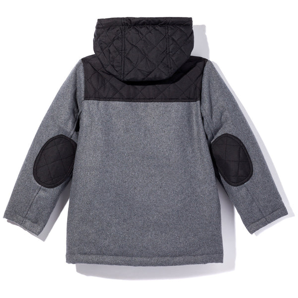 Feeling Grey-T Zip-Up Wool Coat With Hood - Citi Trends Boys - Back