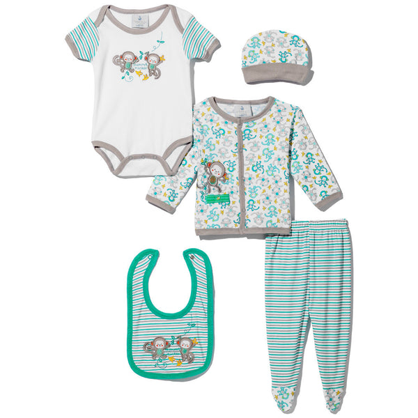 "5-Piece Grey & Turquoise ""Mommy's Monkey"" Embroidered Set - Citi Trends - Baby - Front"
