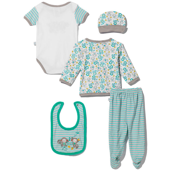 "5-Piece Grey & Turquoise ""Mommy's Monkey"" Embroidered Set - Citi Trends - Baby - Back"