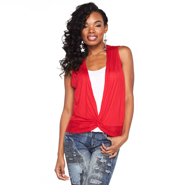Classic Twist Red/White Twist-Front 2Fer Top - Citi Trends Ladies - Front