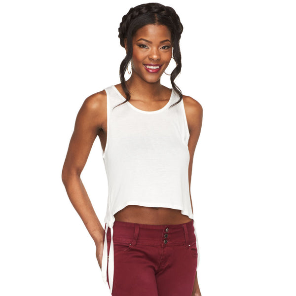 Tied And True Off White Crop Top - Citi Trends Ladies - Front
