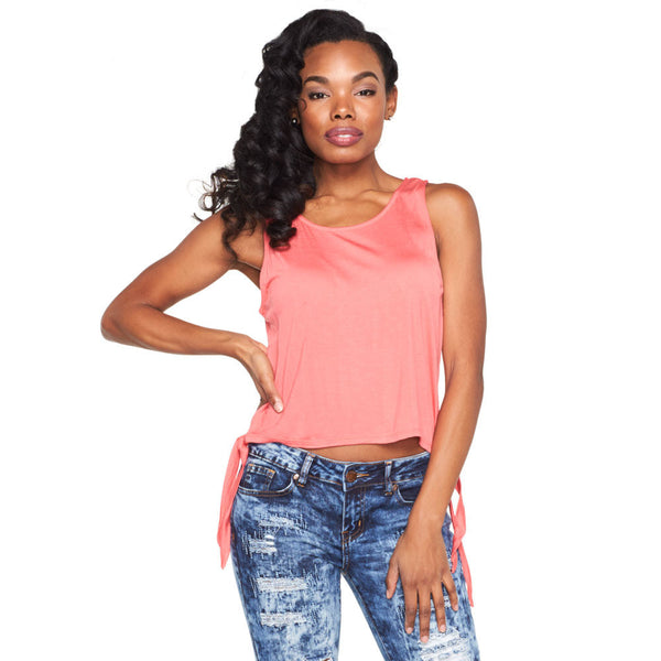 Tied And True Coral Crop Top - Citi Trends Ladies - Front