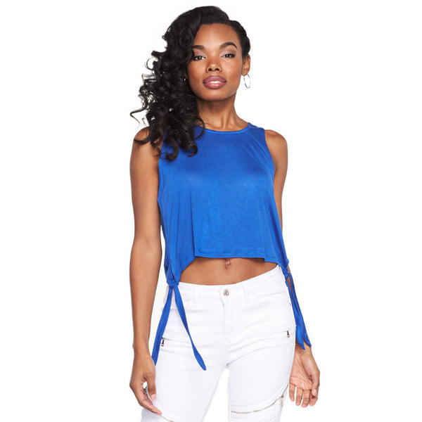 Tied And True Royal Blue Crop Top - Citi Trends Ladies - Front