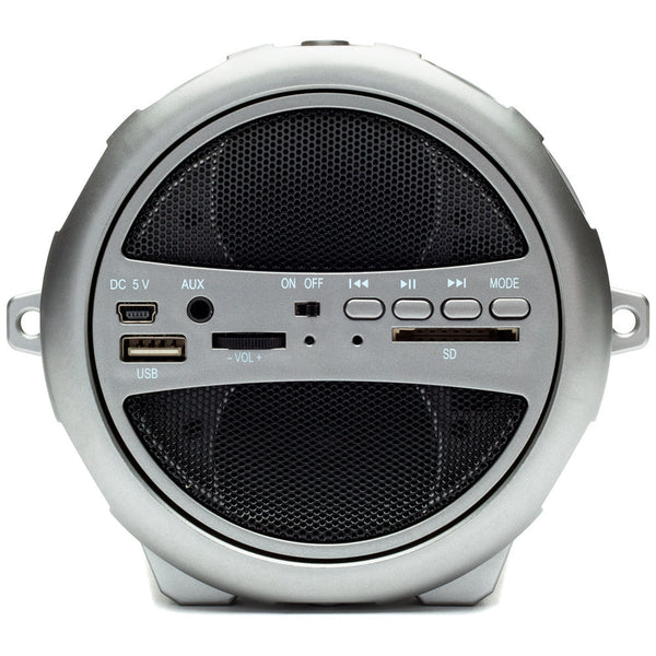 Party On Brown/Silver Sonic Bluetooth Boombox Speaker - Citi Trends Accessories - Back