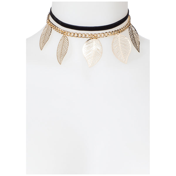 Be-Leaf It Or Not Black/Gold Choker - Citi Trends Accessories - Front