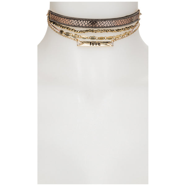 Scale Down 4-Piece Snakeskin Choker Set - Citi Trends Accessories - Front