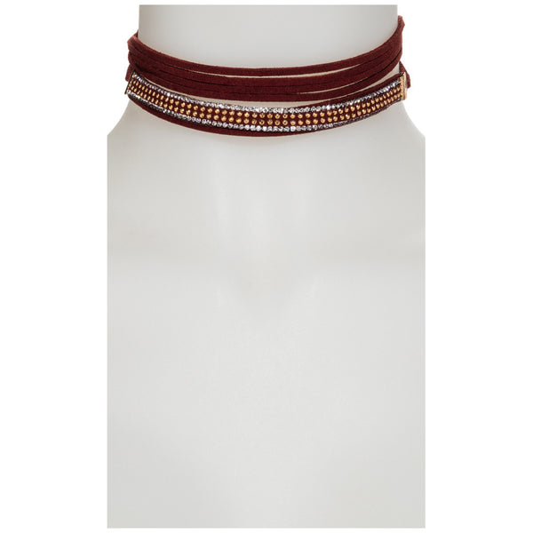 In The Spotlight Burgundy Studded Wraparound Choker - Citi Trends Accessories  - Front