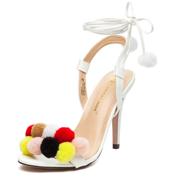 Ball Of Fun White Pom Pom Heel - Citi Trends Shoes - Front
