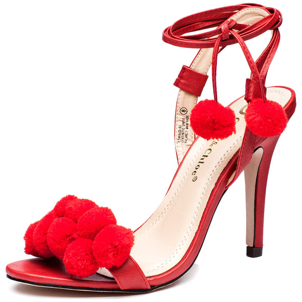 Ball Of Fun Red Pom Pom Heel - Citi Trends Shoes - Front