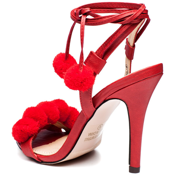 Ball Of Fun Red Pom Pom Heel - Citi Trends Shoes - Back