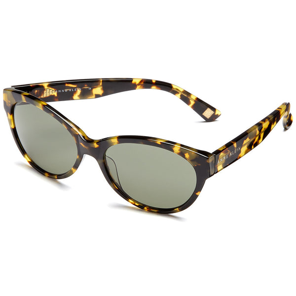 Anne Klein Women's Yellow Tortoiseshell Cat-Eye Sunglasses with Green Lens - Citi Trends Accessories