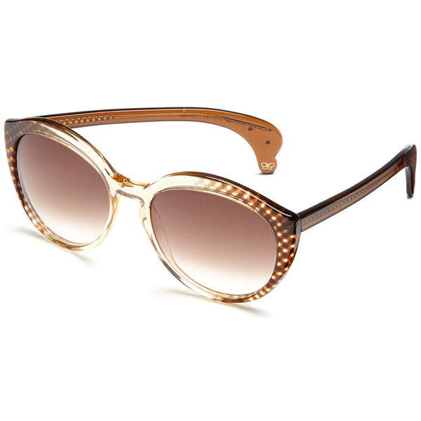 Bottega Veneta Women's Gingham Print Brown Gradient Round Sunglasses - Citi Trends Accessories