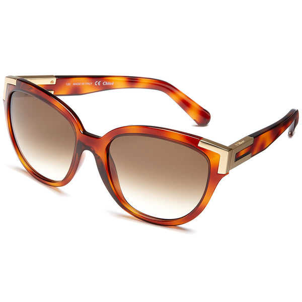 Chloé Women's Light Havana Cat-Eye Sunglasses with Gold-Tone Gilded Corner - Citi Trends Accessories