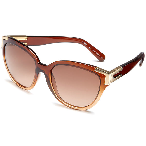 Chloé Women's Brown Translucent Gradient Cat-Eye Sunglasses with Gold-Tone Gilded Corner - Citi Trends Accessories