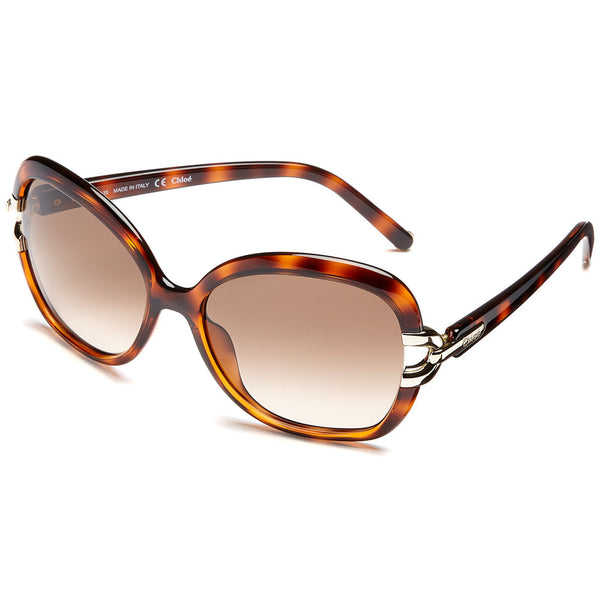 Chloé Women's Brown Tortoiseshell Oversized Sunglasses With Brown Gradient Lens - Citi Trends Accessories