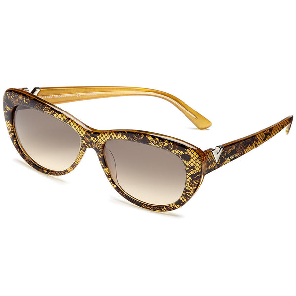 Valentino Women's Yellow Cat-Eye Sunglasses with Black Lace Pattern and Brown Gradient Lens - Citi Trends Accessories