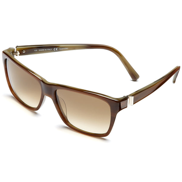 Valentino Women's Striped Brown Rectangle Sunglasses with Brown Gradient Lens - Citi Trends Accessories