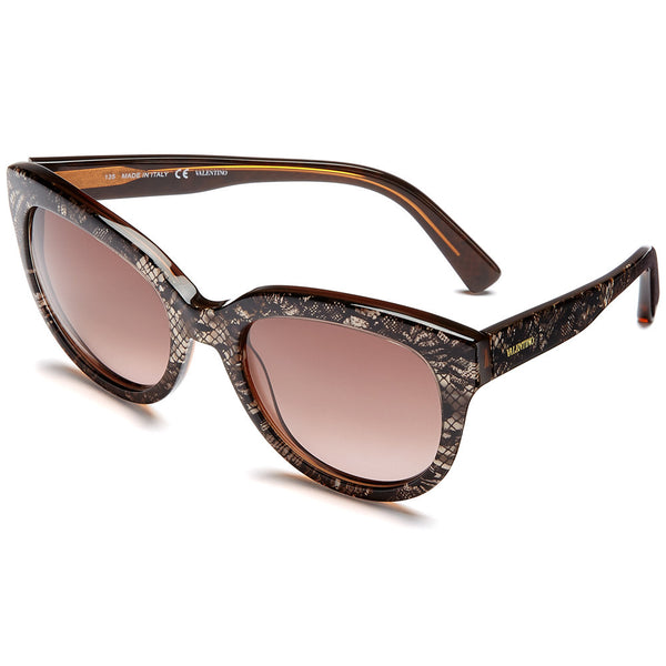 Valentino Women's Beige Lace-Print Butterfly Sunglasses With Brown Gradient Lens - Citi Trends Accessories