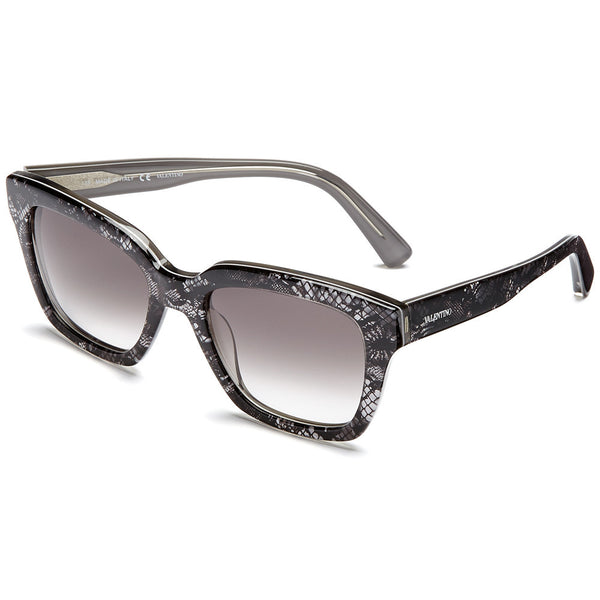 Valentino Women's Silver Lace-Print Square Sunglasses With Grey Gradient Lens - Citi Trends Accessories