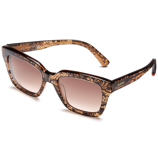 Valentino Women's Brown Lace-Print Square Sunglasses With Brown Gradient Lens - Citi Trends Accessories