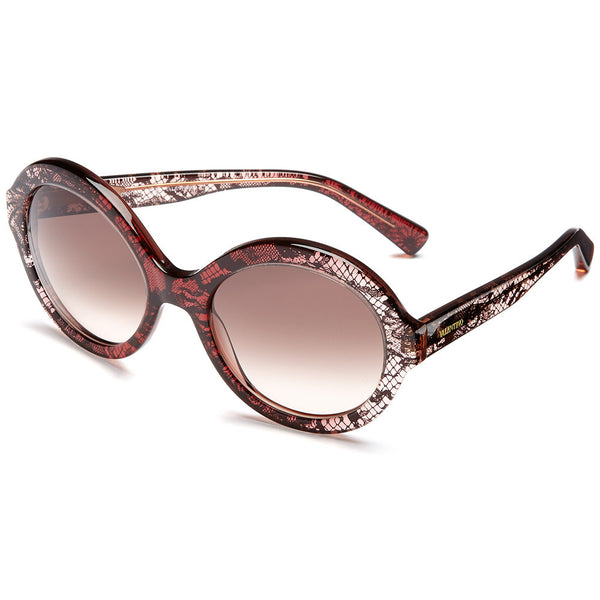 Valentino Women's Red Gradient Lace-Print Round Sunglasses With Gradient Lens - Citi Trends Accessories