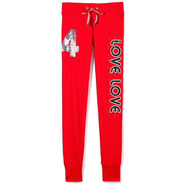 Love To Sparkle Girls Red Fleece Jogger - Citi Trends Girls - Front