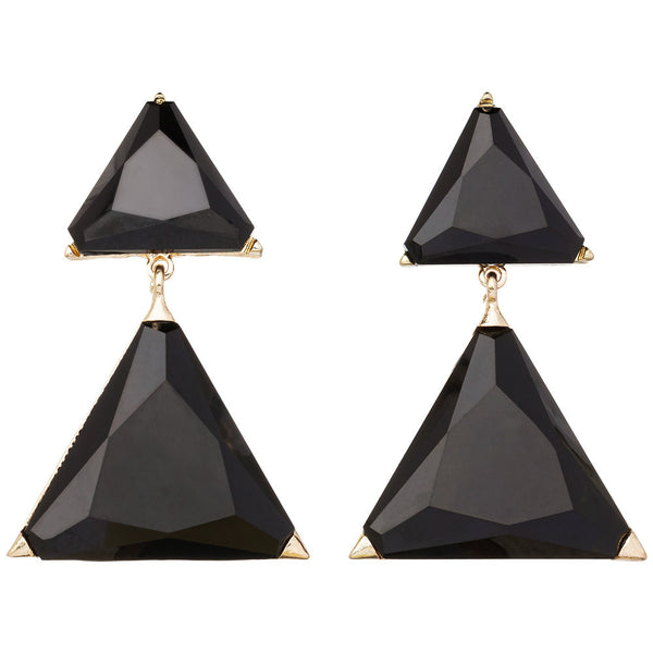 Amrita Singh Gold Drop Earrings with Black Triangle Resin Stone - Citi Trends Accessories
