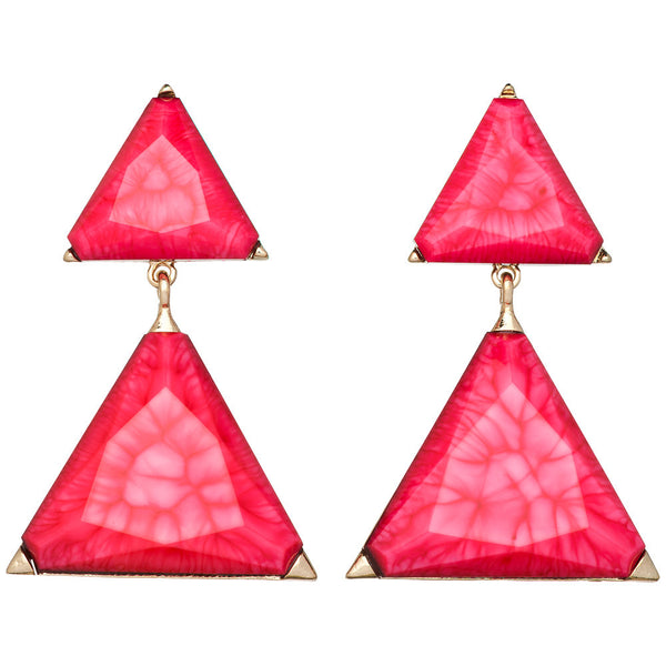 Amrita Singh Gold Drop Earrings with Pink Triangle Resin Stone - Citi Trends Accessories