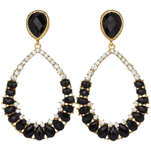 Amrita Singh Crystal-Covered Gold-Tone Drop Earrings with Black Resin Stone - Citi Trends Accessories