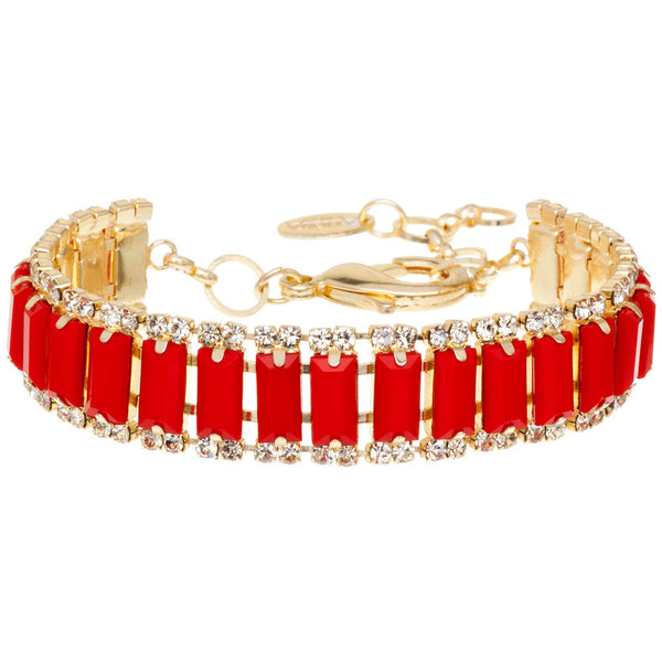 Amrita Singh Faceted Red Rectangle Resin Bracelet with Round Crystal Accents - Citi Trends Accessories - Clasped