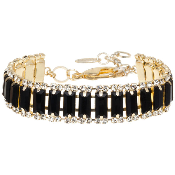 Amrita Singh Faceted Black Rectangle Resin Bracelet with Round Crystal Accents - Citi Trends Accessories - Clasped