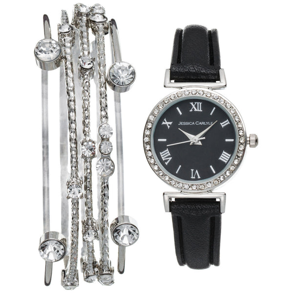 Always On Time Black Watch/5-Piece Bangle Set - Citi Trends Accessories - Front