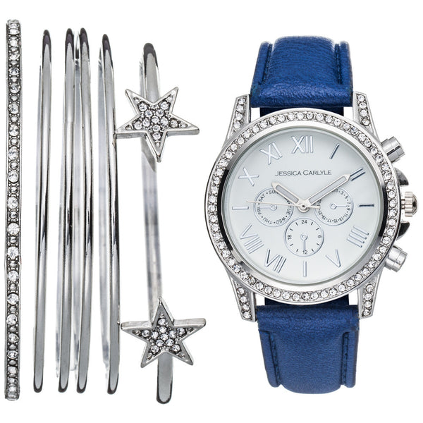 Always On Time Navy Watch 7-Piece Bangle Set - Citi Trends Accessories - Front