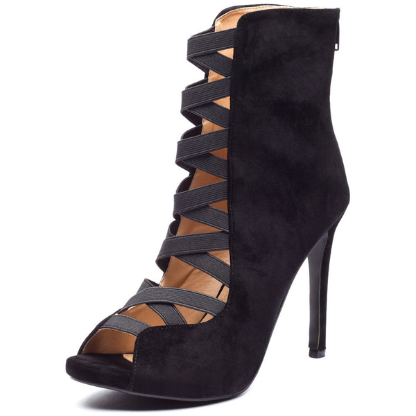 Black Faux Suede Peep-Toe Bootie With Crisscross Elastic Strap Cutout Front - Citi Trends Shoes - Front
