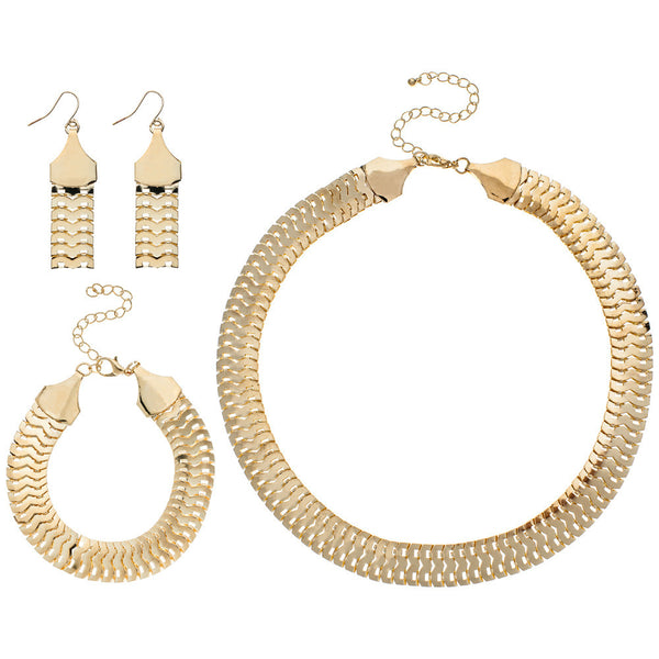 Flat Out Fabulous Gold Necklace With Bracelet And Earring Set - Citi Trends Accessories - Front