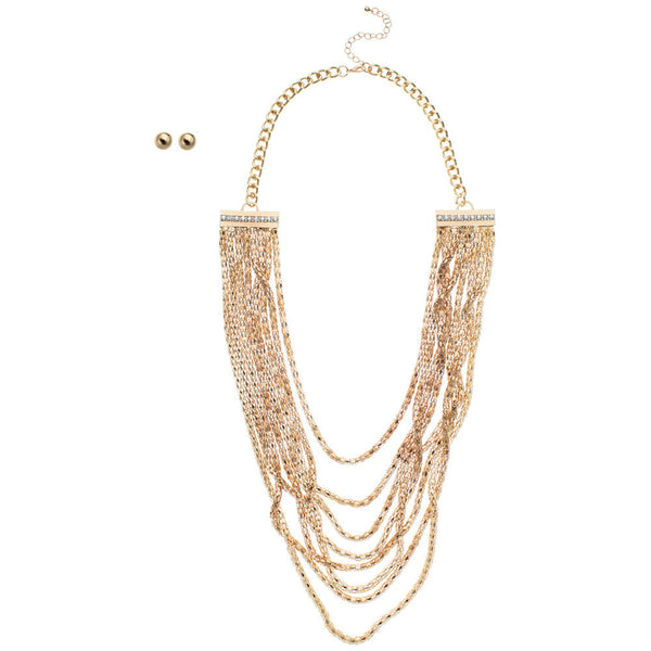 Glisten While You Work Layered Necklace And Earring Set - Citi Trends Accessories - Front