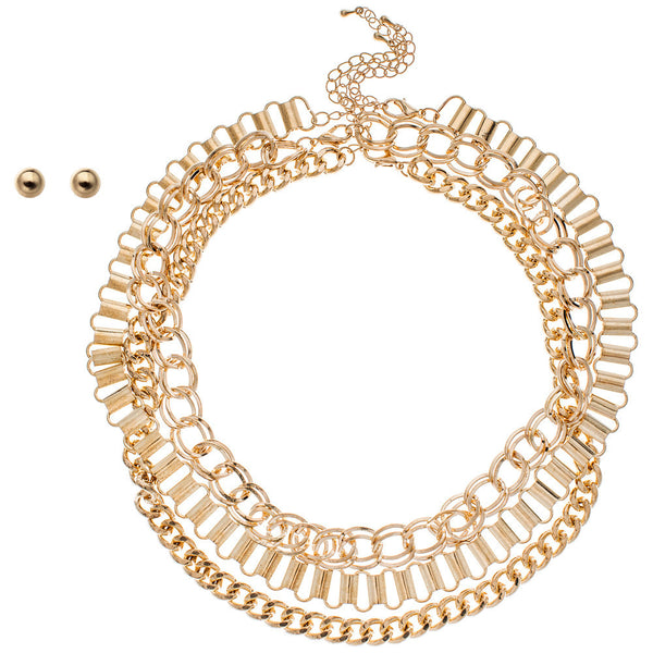 Chain Of Command Gold Layered Necklace And Earring Set - Citi Trends Accessories - Front