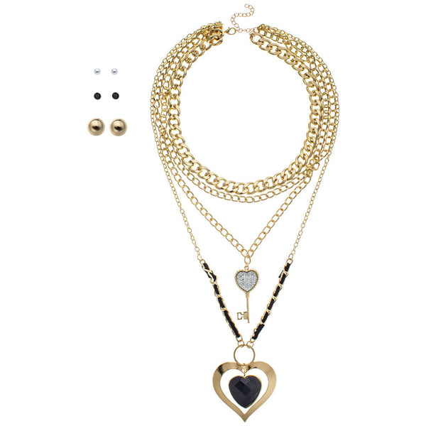 Link On Lock 4-Piece Layered Necklace And Earring Set - Citi Trends Accessories - Front