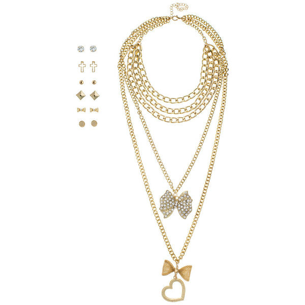 Bow Beautiful 7-Piece Layered Necklace And Earring Set - Citi Trends Accessories - Front