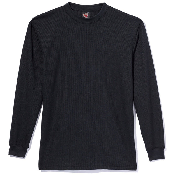 Factor In The Basics Boys Black Waffle-Knit Thermal Tee - Citi Trends