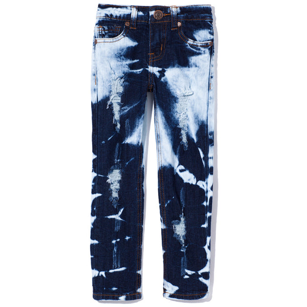 Bleached Dark Denim Rip And Repair Skinny Jean - Citi Trends Girls - Front