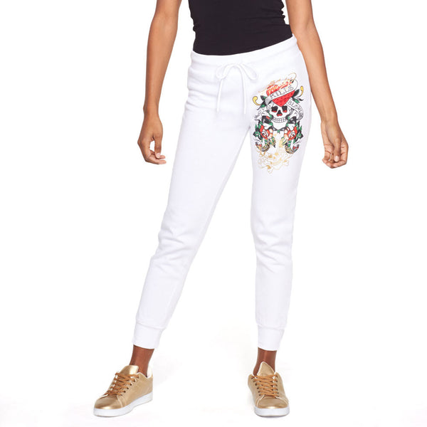 For The Love Of Comfort Ed Hardy White Fleece Jogger - Citi Trends Plus and Ladies - Front
