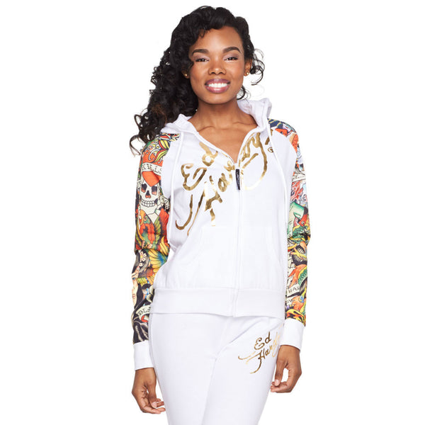 Rock The Walk Ed Hardy White Tattoo Print Fleece Hoodie - Citi Trends Ladies and Plus - Front