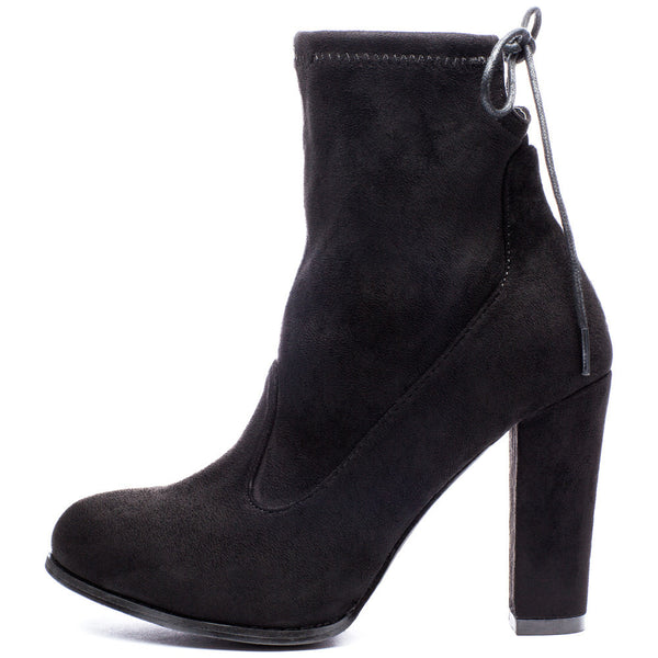 Tie-Dah Black Faux Suede Bootie - Citi Trends Shoes - Side